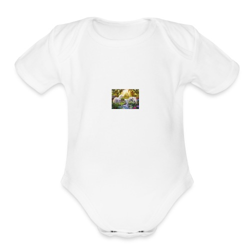Unicorn Pond Land Shirt - Organic Short Sleeve Baby Bodysuit