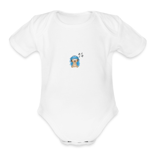 music animal cute - Organic Short Sleeve Baby Bodysuit