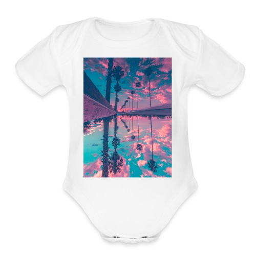 Palm trees - Organic Short Sleeve Baby Bodysuit