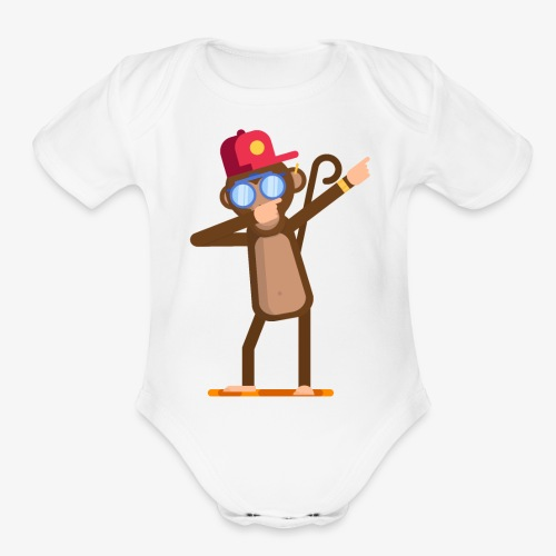 Animal doing dabbing movement - monkey - Organic Short Sleeve Baby Bodysuit