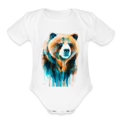grizzly bear - Organic Short Sleeve Baby Bodysuit