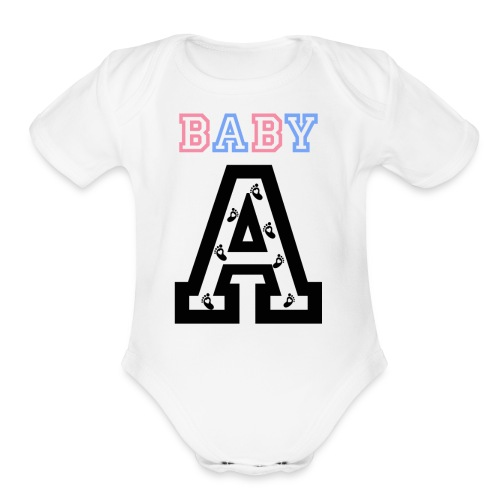 Twins - Baby gender reveal for baby A - Organic Short Sleeve Baby Bodysuit