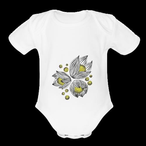 Floral design - Organic Short Sleeve Baby Bodysuit