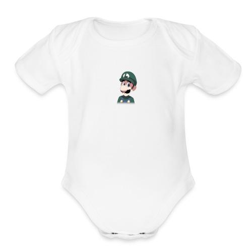Luigi from (Mario)The Music Box By Team Ari - Organic Short Sleeve Baby Bodysuit