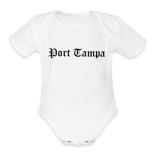 Port Tampa - Black - Organic Short Sleeve Baby Bodysuit