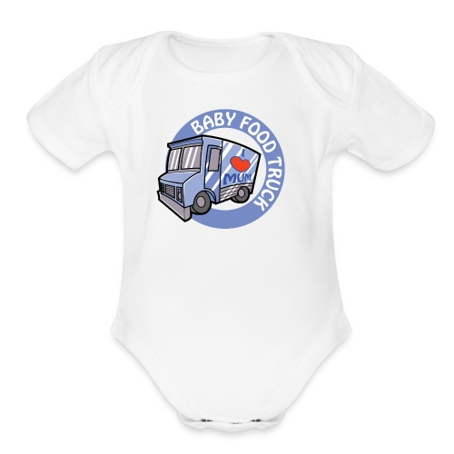 Blue Baby Food Truck - Organic Short Sleeve Baby Bodysuit