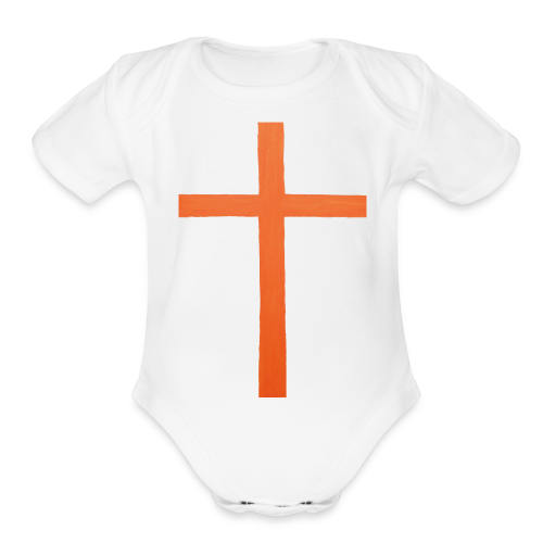 Orange Cross Jesus Rock Design AVE - Organic Short Sleeve Baby Bodysuit