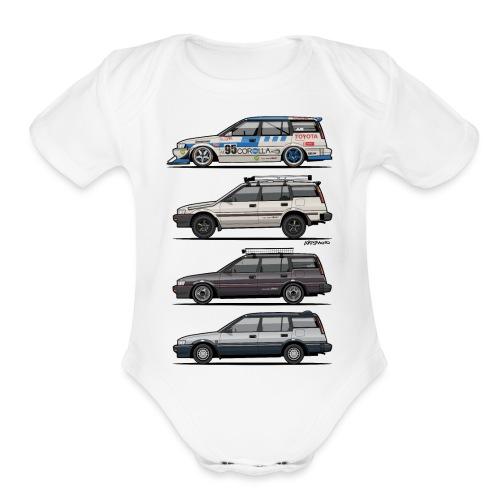Stack of Toyota Corolla E90 - Organic Short Sleeve Baby Bodysuit