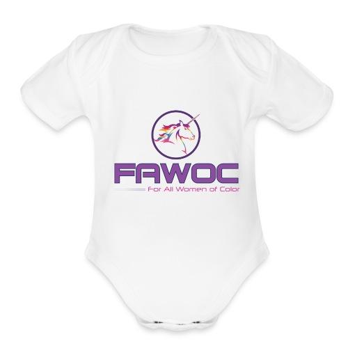 FAWOC Full logo - Organic Short Sleeve Baby Bodysuit