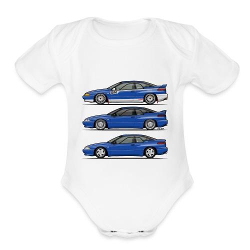 Subie Alcyone SVX Laguna Blue Pearl Trio - Organic Short Sleeve Baby Bodysuit