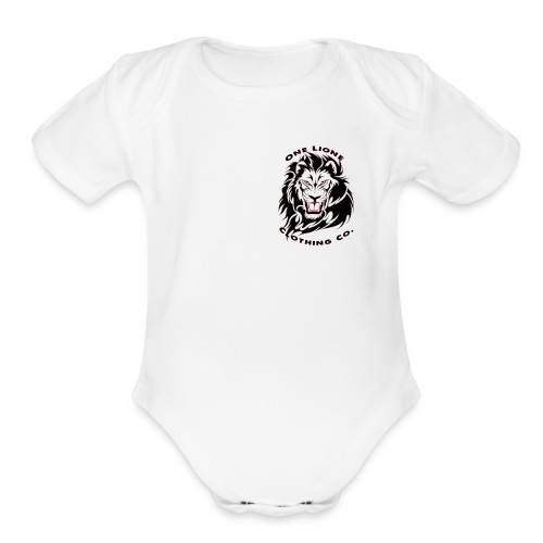 One Lione Clothing Co. Corner Emblem - Organic Short Sleeve Baby Bodysuit