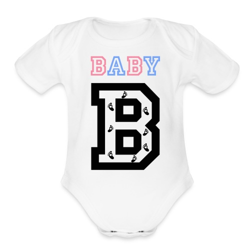 Twins- baby gender reveal for baby B - Organic Short Sleeve Baby Bodysuit