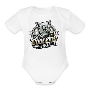 cool kids table pig - Short Sleeve Baby Bodysuit