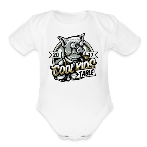 cool kids table pig - Organic Short Sleeve Baby Bodysuit