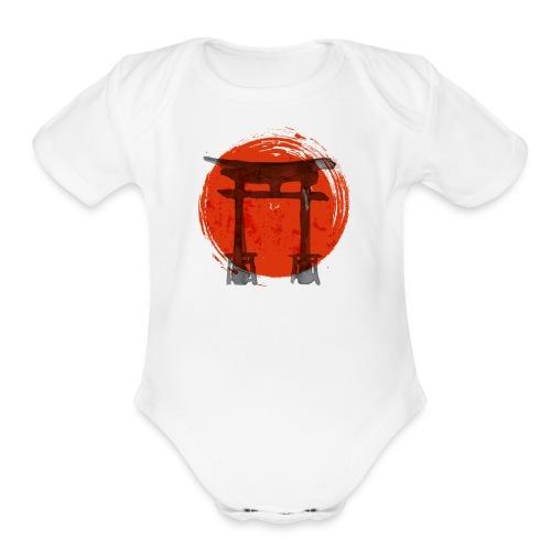 Premium Japanese Artistic Temple Watercolor Shirt - Organic Short Sleeve Baby Bodysuit