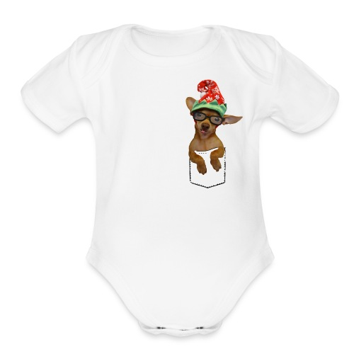 Is that a chaweenie in your pocket? - Organic Short Sleeve Baby Bodysuit