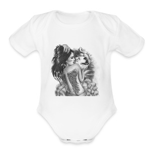 Wolf with woman - Short Sleeve Baby Bodysuit