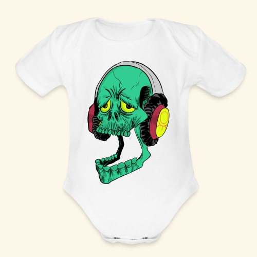 Mr. Green skull - Organic Short Sleeve Baby Bodysuit
