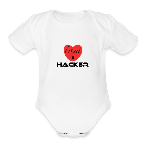 i am a heart hacker - Organic Short Sleeve Baby Bodysuit