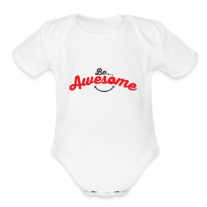 Be Awesome Smiley - Short Sleeve Baby Bodysuit