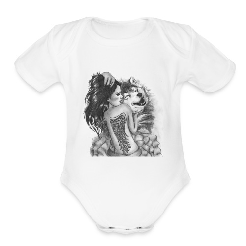 Wolf with woman - Organic Short Sleeve Baby Bodysuit