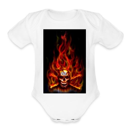 red fire skull - Organic Short Sleeve Baby Bodysuit