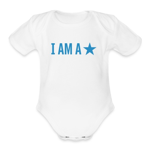 iamastar logo white - Organic Short Sleeve Baby Bodysuit