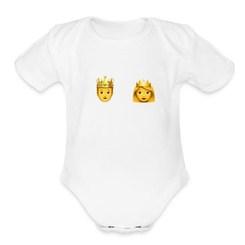 prince and princess - Organic Short Sleeve Baby Bodysuit