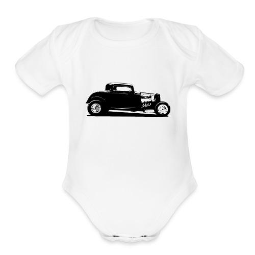 Classic American Thirties Hot Rod Car Silhouette - Organic Short Sleeve Baby Bodysuit