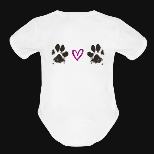 Paw Love black - Organic Short Sleeve Baby Bodysuit