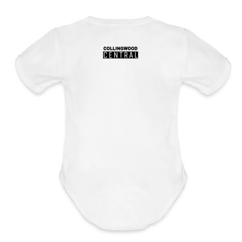 BLK Collingwood Central Logo - Organic Short Sleeve Baby Bodysuit