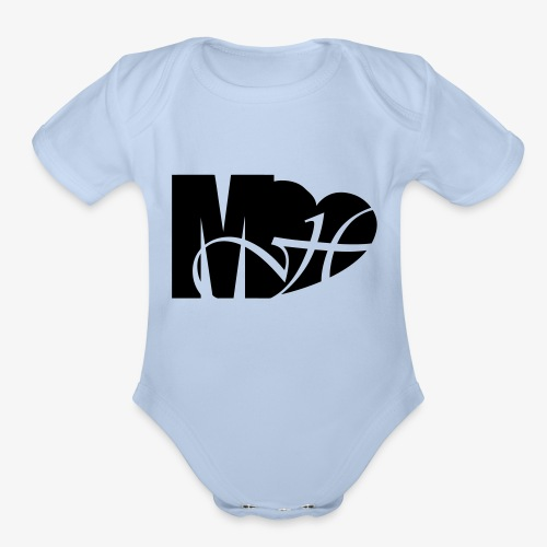 Mo Heart Solid White - Organic Short Sleeve Baby Bodysuit