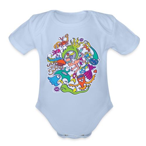 Summer swimming with weird dangerous sea creatures - Organic Short Sleeve Baby Bodysuit