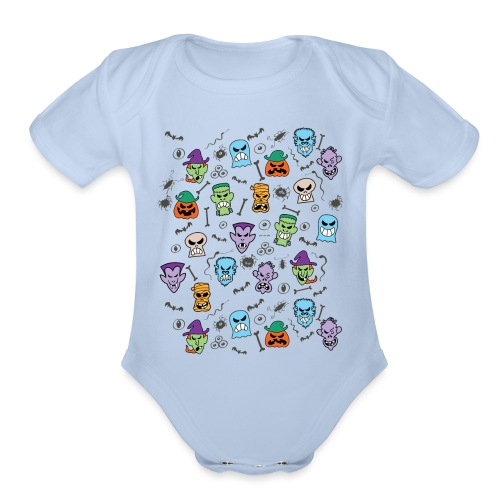 Halloween characters making funny faces pattern - Organic Short Sleeve Baby Bodysuit