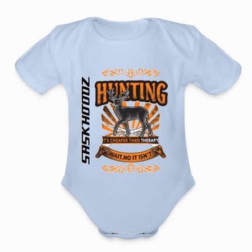 saskhoodz deer - Organic Short Sleeve Baby Bodysuit