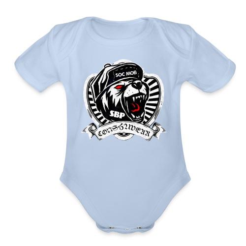 CONSHA WEAR TIGER HEAD LOGO SOC MOB SBP - Organic Short Sleeve Baby Bodysuit