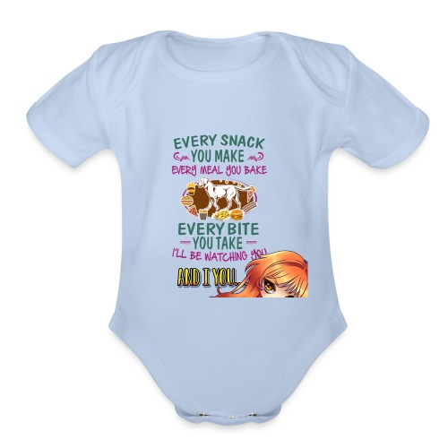 Watching you - Organic Short Sleeve Baby Bodysuit