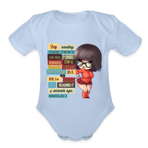 CAUGHT YOU - Organic Short Sleeve Baby Bodysuit