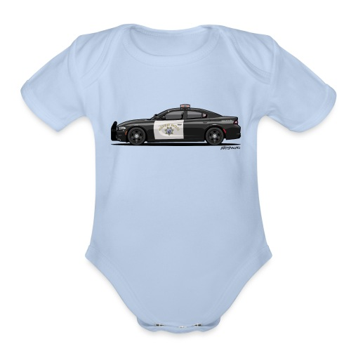 California Highway Patrol Charger Police Car - Organic Short Sleeve Baby Bodysuit