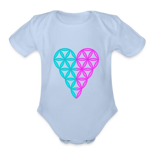 Dual Heart - Heart of Life - 3D. - Organic Short Sleeve Baby Bodysuit