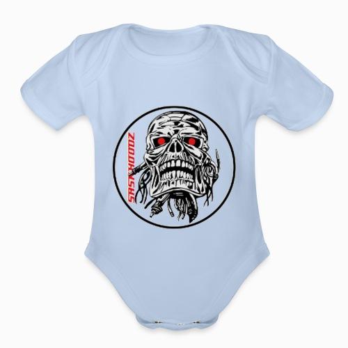 saskhoodz skull - Organic Short Sleeve Baby Bodysuit