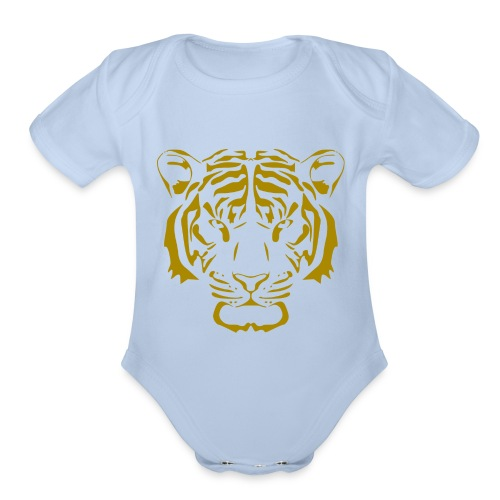 Tiger head - Organic Short Sleeve Baby Bodysuit