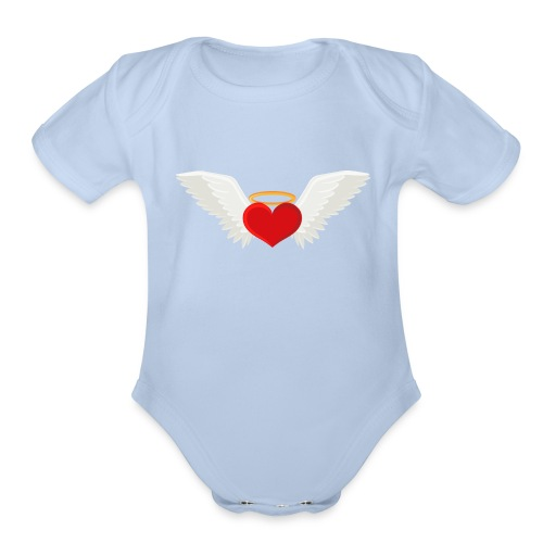 Winged heart - Angel wings - Guardian Angel - Organic Short Sleeve Baby Bodysuit
