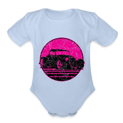Retro Hot Pink Hot Rod Grungy Sunset Illustration - Organic Short Sleeve Baby Bodysuit