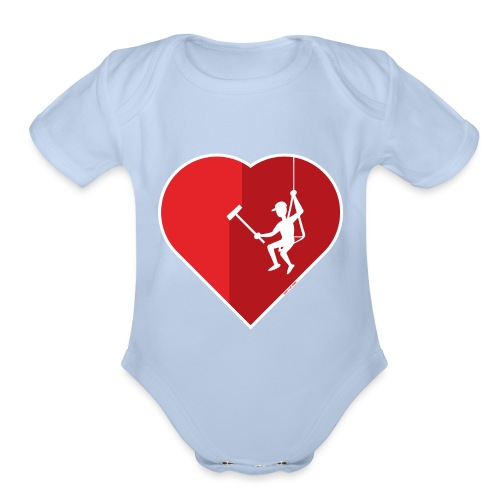 Heart cleaning by a professional window cleaner - Organic Short Sleeve Baby Bodysuit