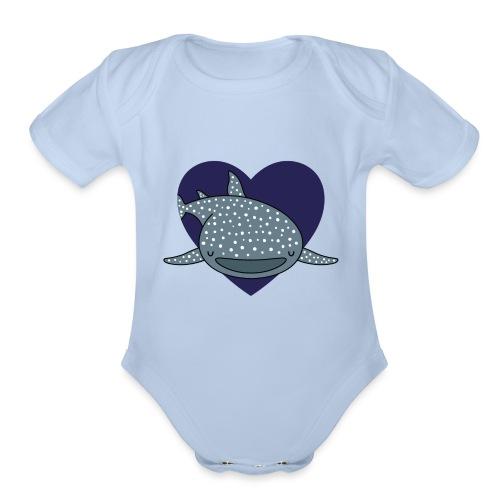 Whale Shark Love - Organic Short Sleeve Baby Bodysuit