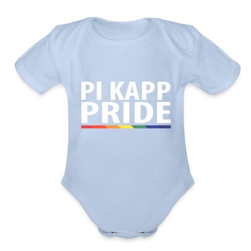 PKPride Stacked Design w Rainbow Stripe White Tex - Organic Short Sleeve Baby Bodysuit