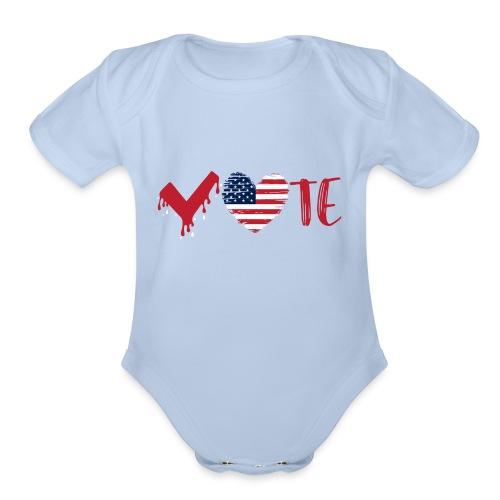 vote heart red - Organic Short Sleeve Baby Bodysuit