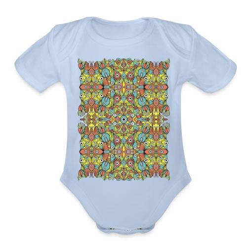 Odd creatures multiplying in a symmetrical pattern - Organic Short Sleeve Baby Bodysuit