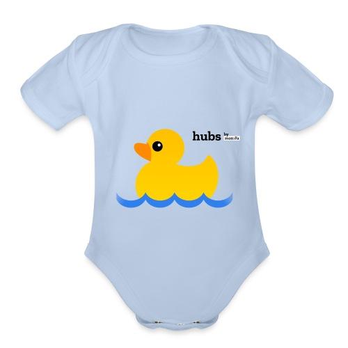 Hubs Duck - Wordmark and Water - Organic Short Sleeve Baby Bodysuit